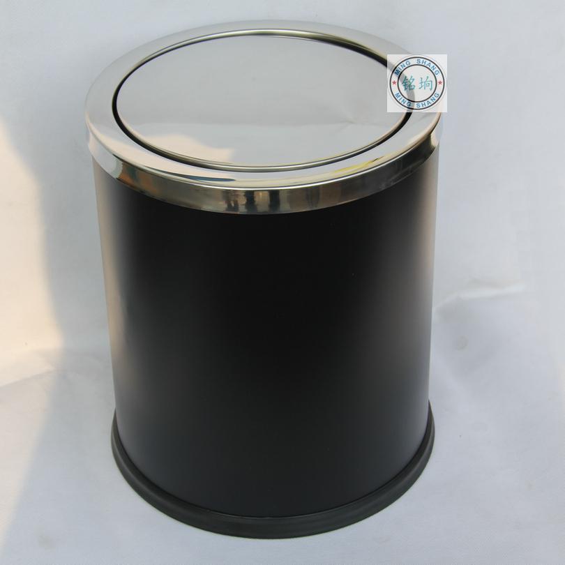 铭垧 时尚高档带盖不锈钢家用垃圾桶创意厨房用收纳桶摇盖欧式12L