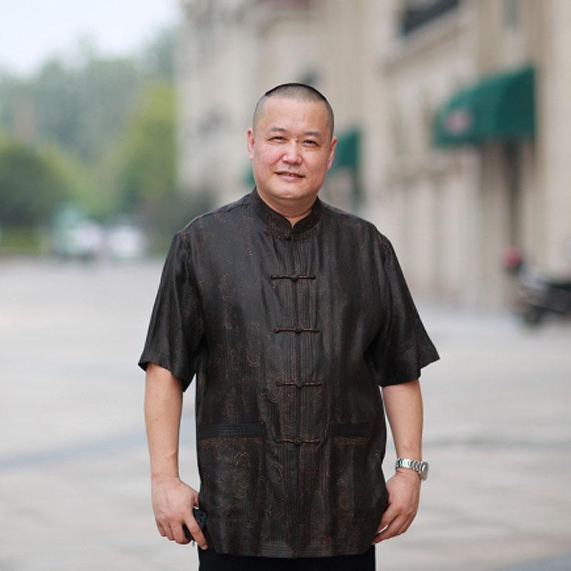 高三强唐装 男士夏季桑蚕丝香云纱短袖 中国风真丝唐装上衣12523