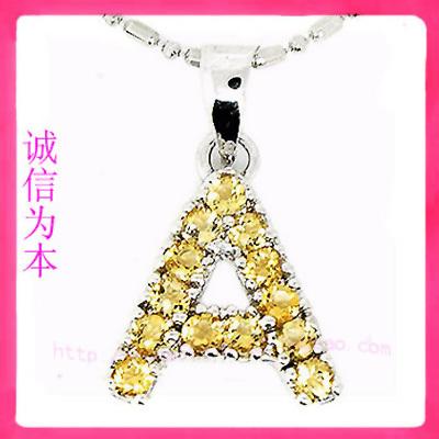 纯天然黄水晶项链吊坠925纯银饰品批发 字母A挂坠 韩版时尚创意