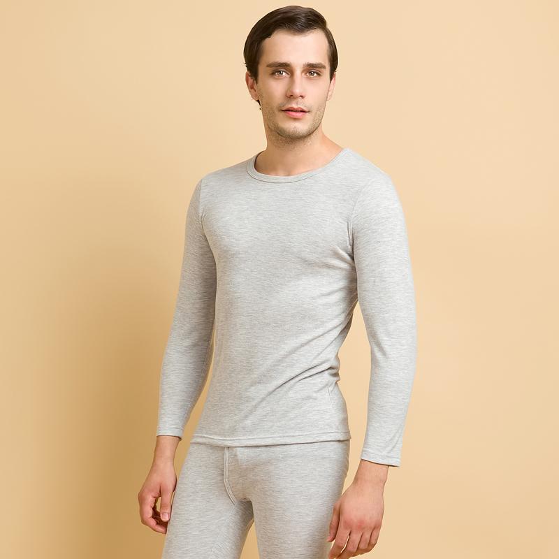 爱帝内衣 男士秋衣秋裤纯色双层无缝一片式吸湿排汗圆领保暖内衣