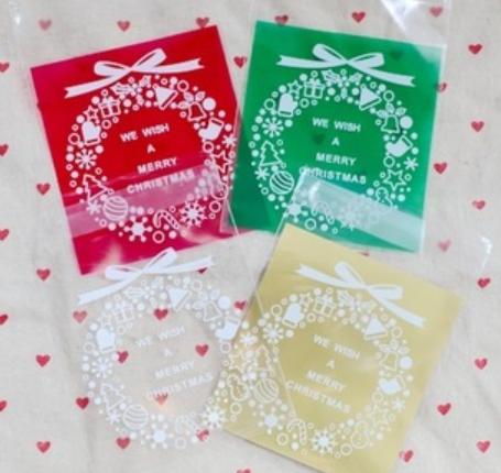 韩国烘焙包装 四色圣诞花环饼干袋 曲奇袋 自封袋100个批发