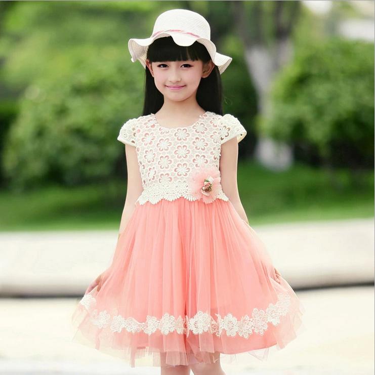 女童夏装连衣裙童装2014新款短袖花朵纱裙大童公主裙儿童裙子童裙