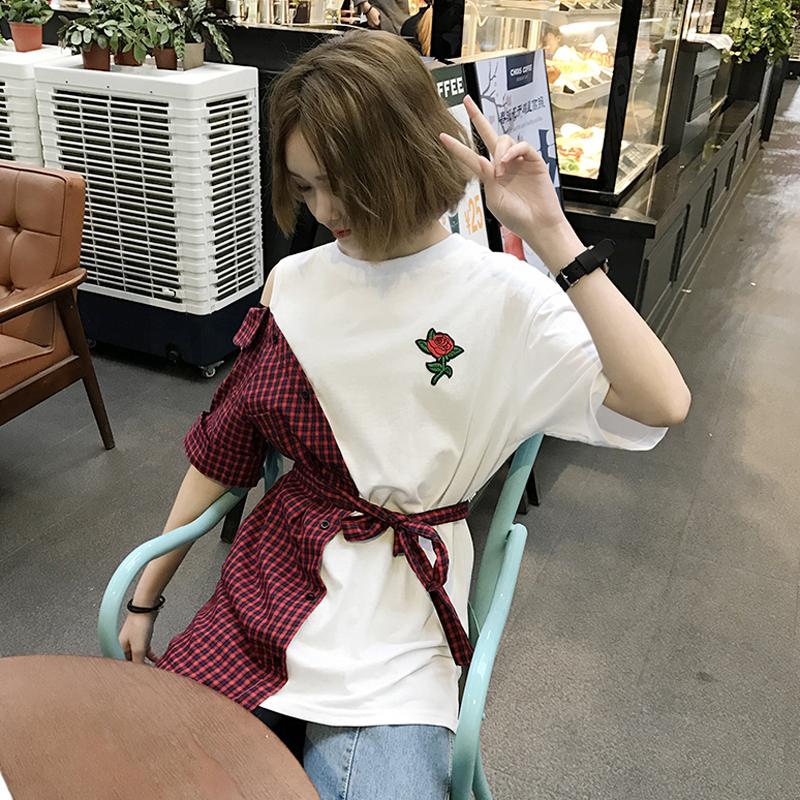 刺绣短袖t恤女宽松拼接韩版复古大版中长款夏季原宿bf风t恤裙裙子