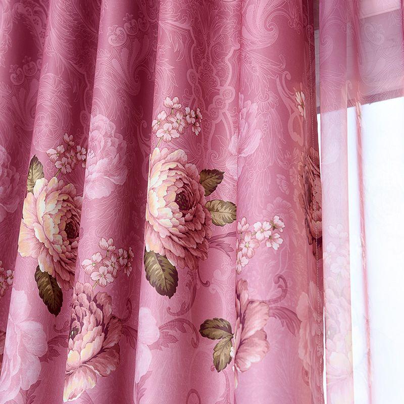安心家纺窗帘布窗纱欧式田园客厅卧室双面印花成品烫金全遮光特价