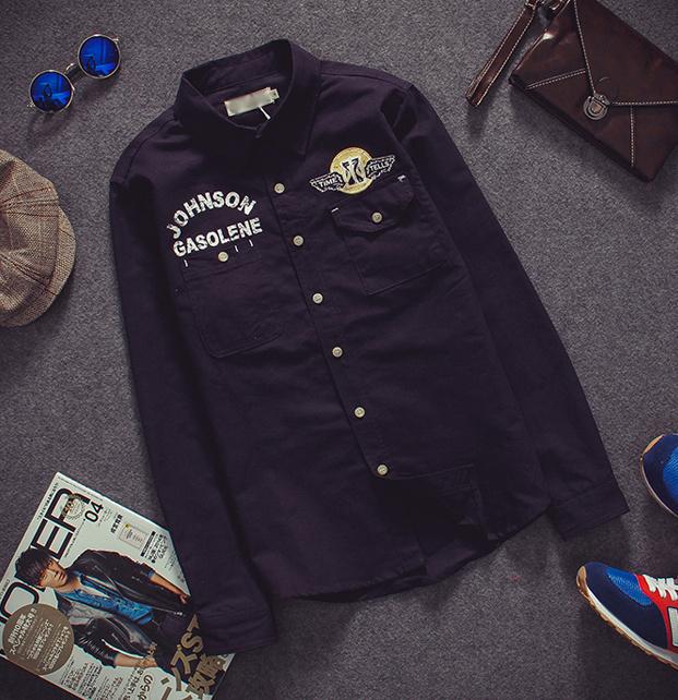2015春季新款余文乐男士长袖衬衫韩版休闲男款格子衬衫衬衣男装