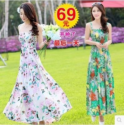 2015夏装新款裙子 韩版棉质长裙显瘦修身波西米亚吊带碎花连衣裙