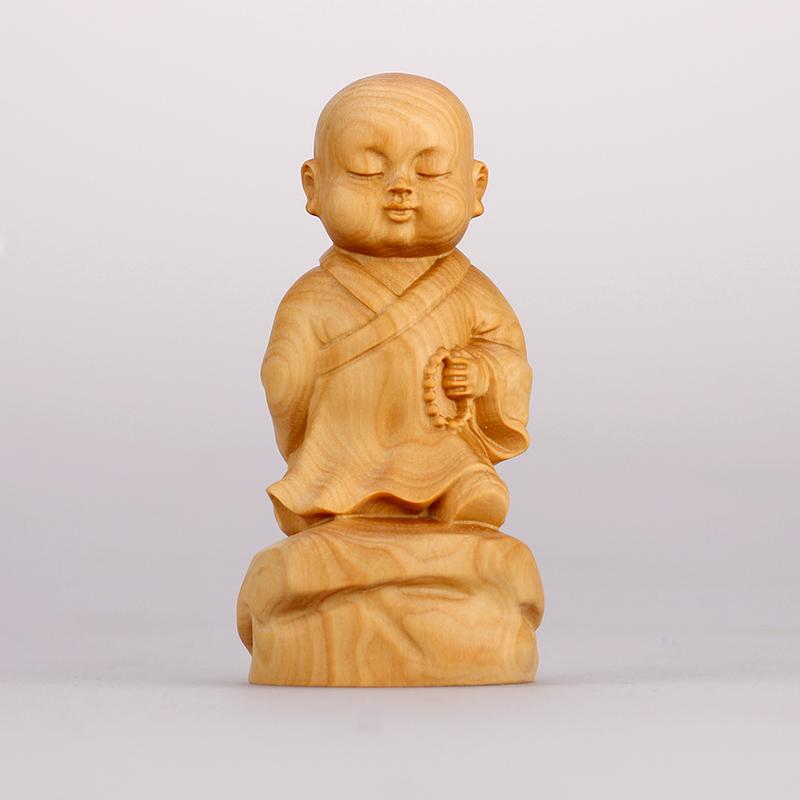 黄杨木雕创意小和尚摆件工艺品禅意小沙弥办公室家