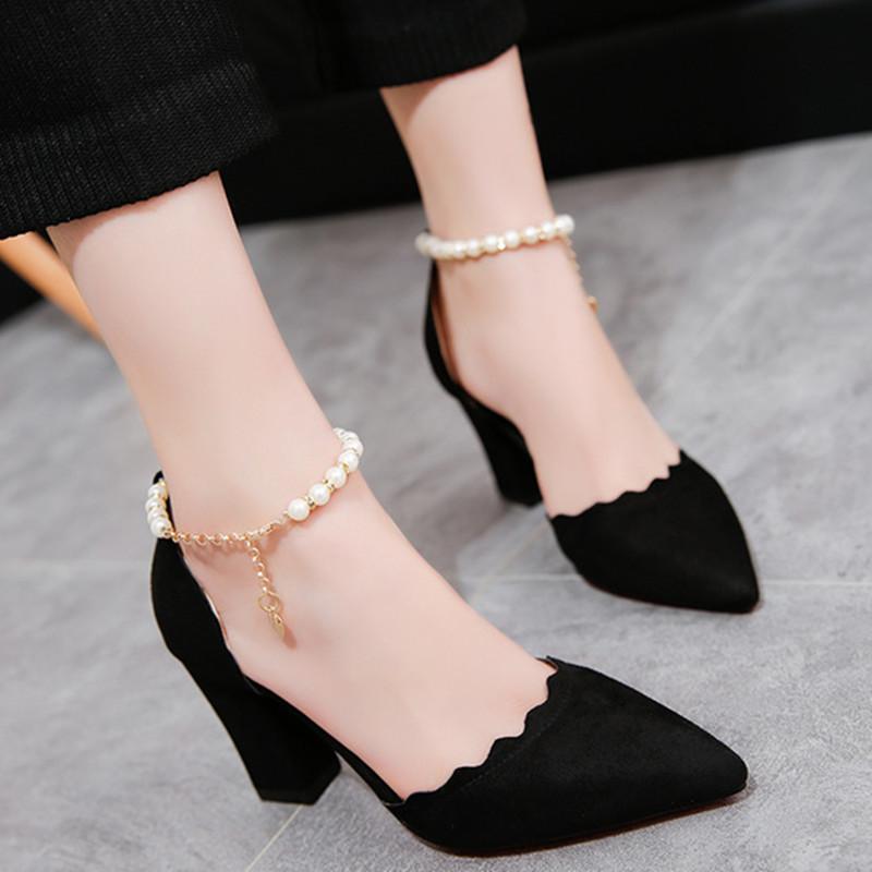 女鞋单鞋百搭浅口女春夏粗尖头高跟鞋绒面一字扣性感