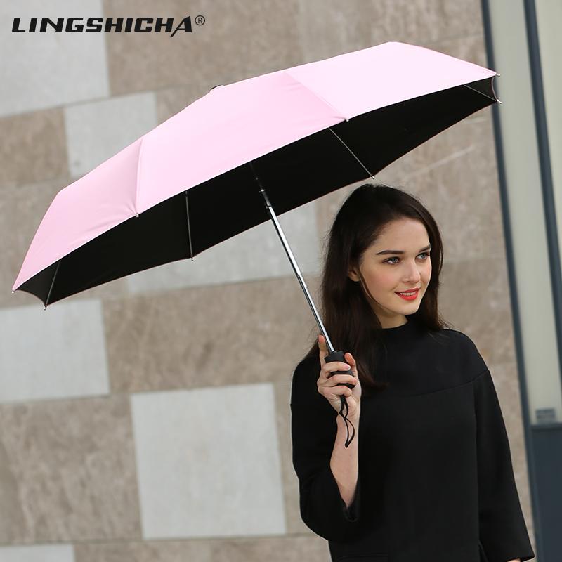太阳伞防晒防紫外线遮阳黑胶雨伞女晴雨两用折叠超轻超短学生小伞