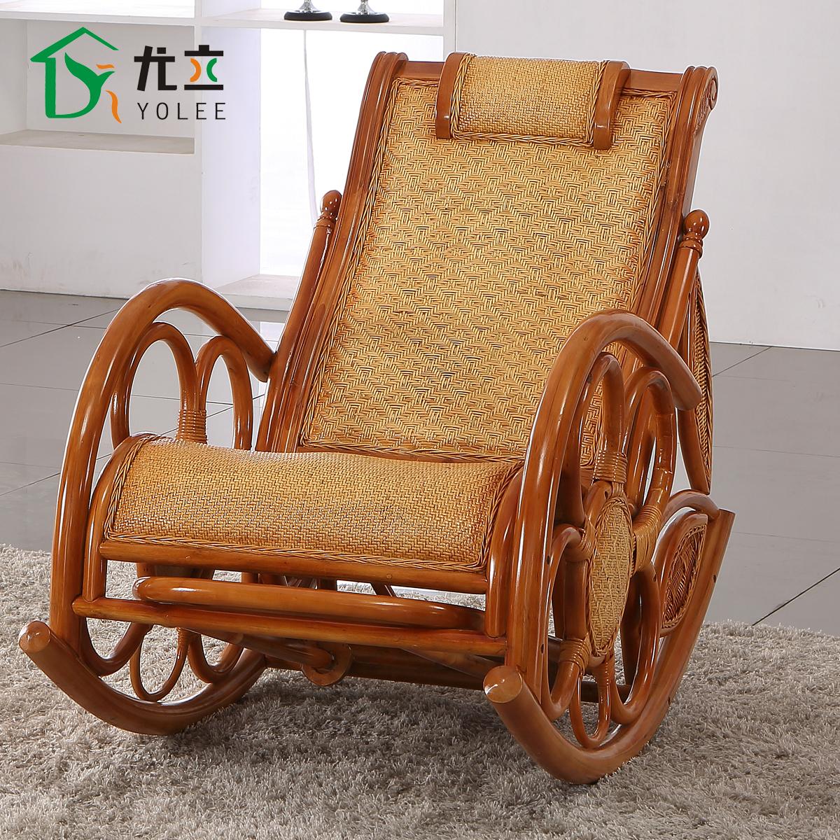 尤立藤摇椅躺椅逍遥椅 躺椅 藤椅老人椅休闲椅 摇摇椅 高级藤木椅