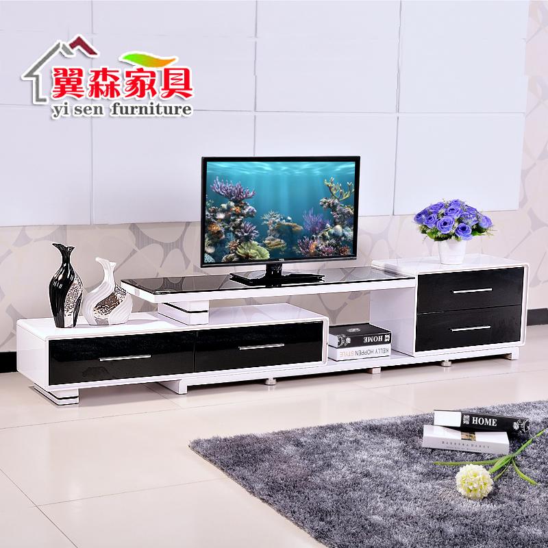 伸缩电视柜简约现代钢化玻璃茶几组合套装烤漆电视机柜客厅影视柜