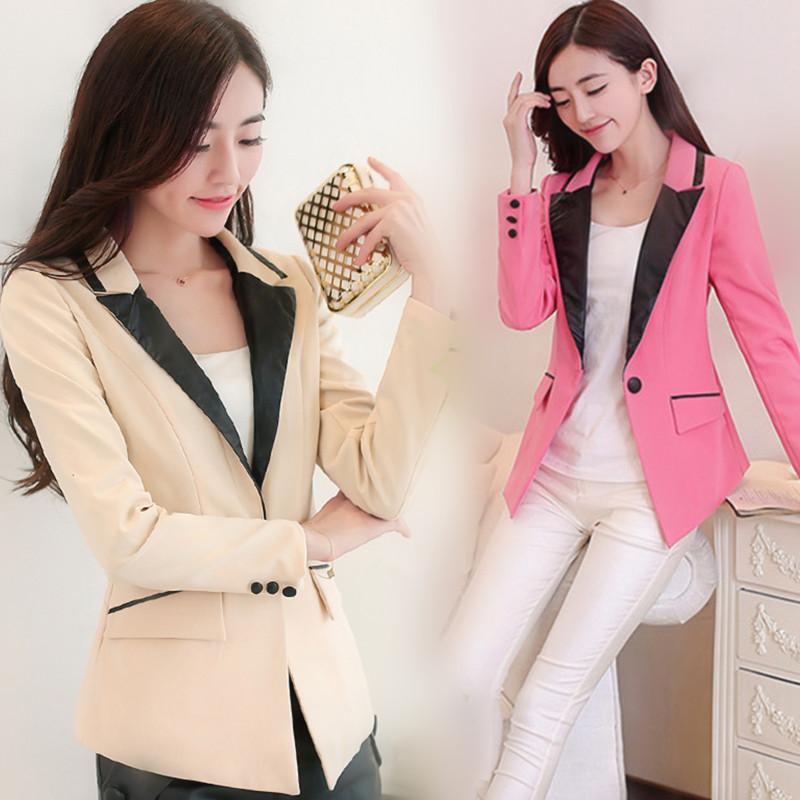 2014秋季新款韩版职业淑女修身OL通勤气质撞色大码外套西服小西装
