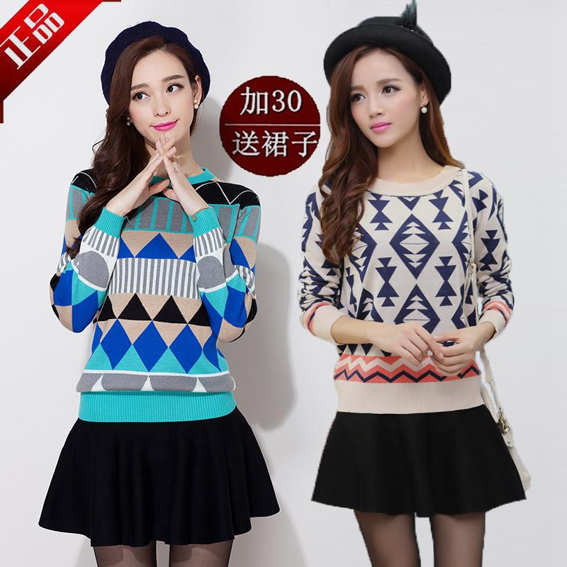 2014秋冬季女装新款毛衣女韩版宽松长袖针织衫套头羊绒衫打底外套