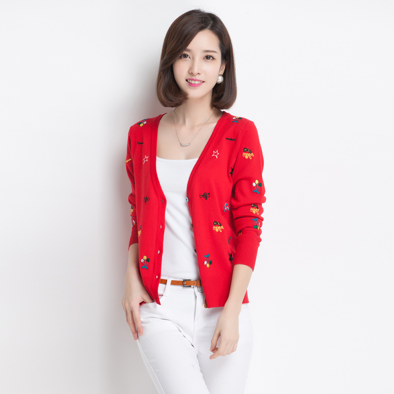 秋装开衫新款清新针织纯色V领防晒针织衫长袖短款时尚小开衫外套