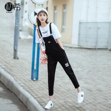 黑色可爱牛仔背带裤春秋女2017新款韩版学生宽松休闲九分裤学院风