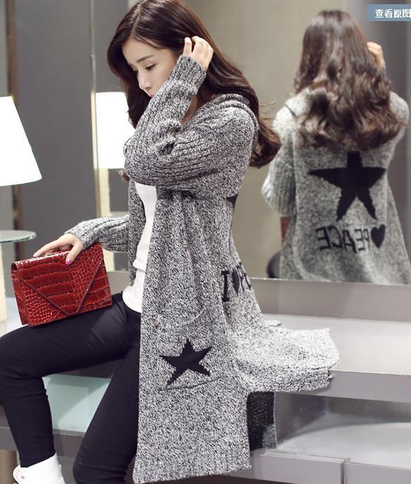 2015秋装新款 韩版宽松显瘦中长款连帽开衫针织衫孕妇装外套毛衣