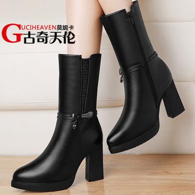古奇天伦粗跟中筒靴英伦风马丁靴2016秋冬季新款高跟女鞋子圆头