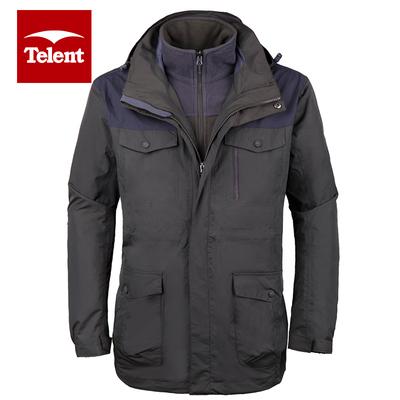 天伦天男士运动夹克 冬季户外运动防风排汗外套休闲保暖连帽上衣