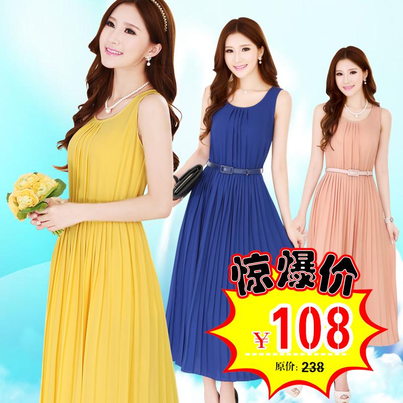 2014韩版女装修身显瘦淑女气质无袖雪纺连衣裙波西米亚连衣裙长裙