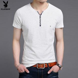 花花公子夏季新款t恤男短袖 青年短袖男装休闲修身半袖体恤上衣服