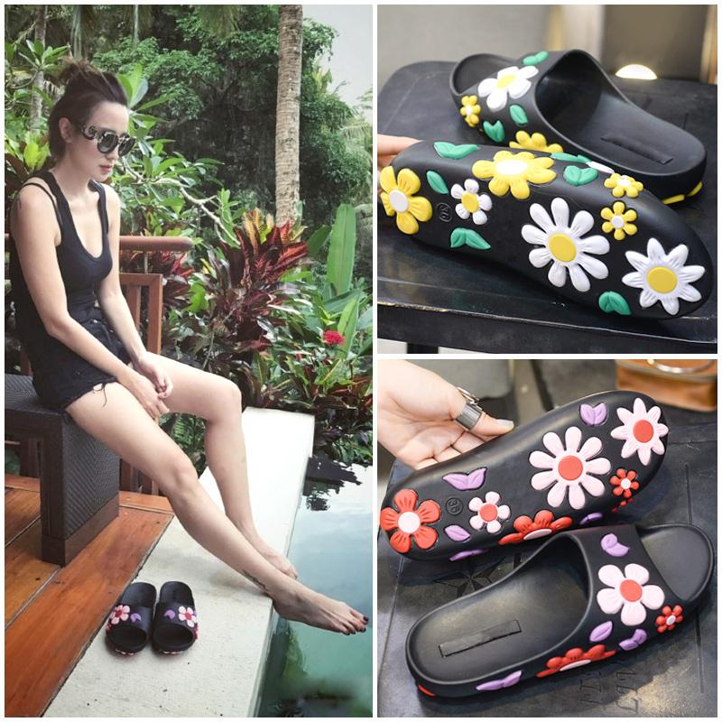 拖鞋防滑时尚一字拖软底立体女夏大花朵夏季沙滩鞋