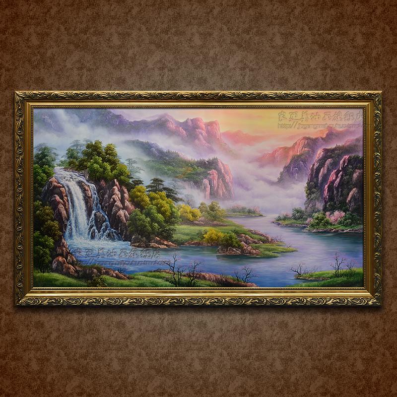 山水风景聚宝盆油画纯手绘名画欧式客厅有框装饰画挂