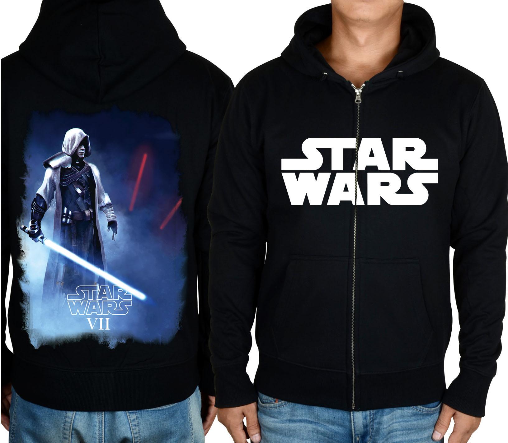 星球大战Star Wars 7原力觉醒达斯摩尔光剑连帽加绒开衫卫衣
