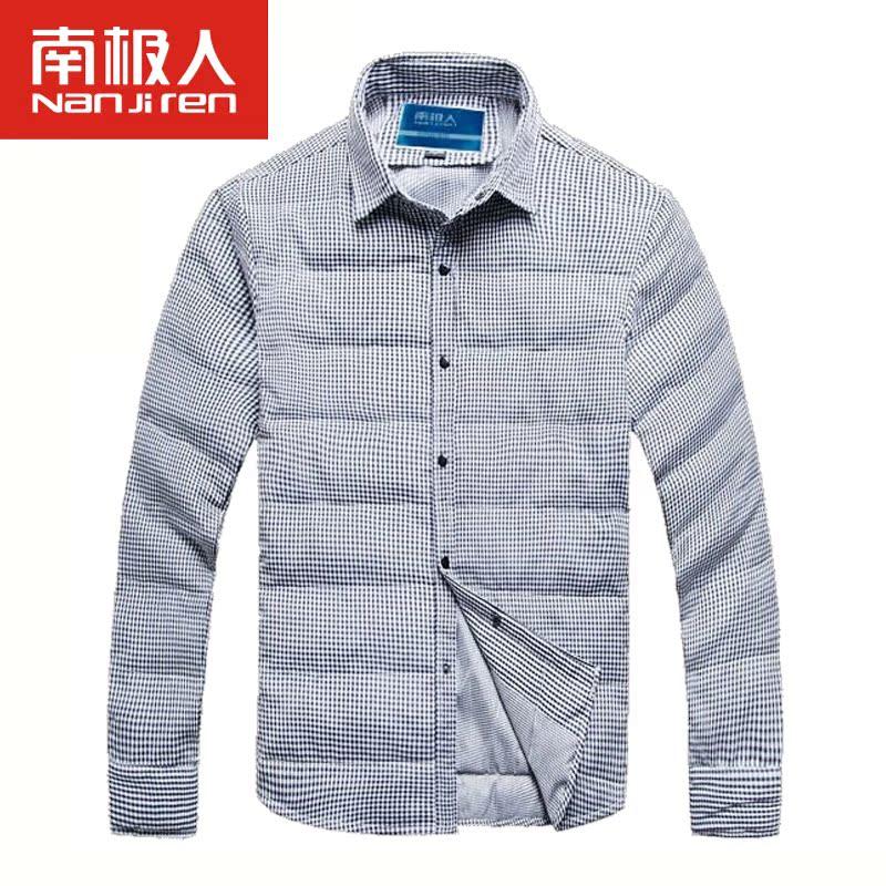 南极人男装时尚休闲格子轻薄保暖羽绒衬衫NG213Y71810