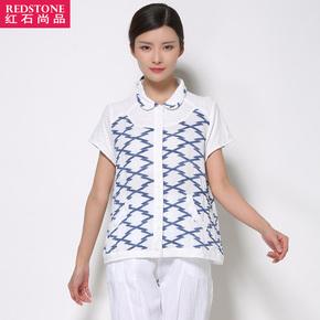 2016新款夏装短款宽松拼波纹娃娃领衬衫开衫通勤休闲韩版大码女装