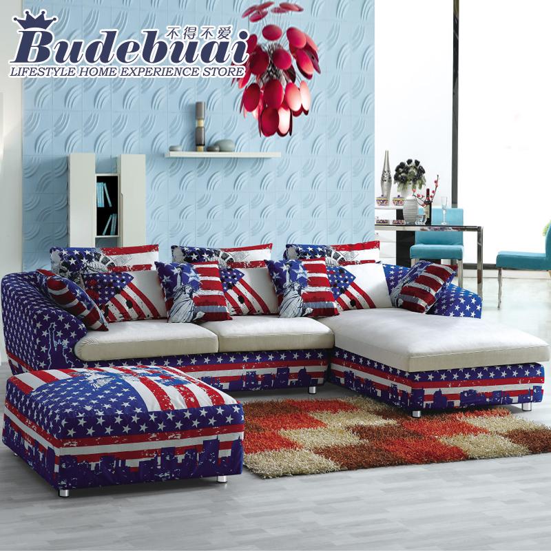 不得不爱 客厅组合家具 简约现代 小户型布艺沙发L型 可拆洗