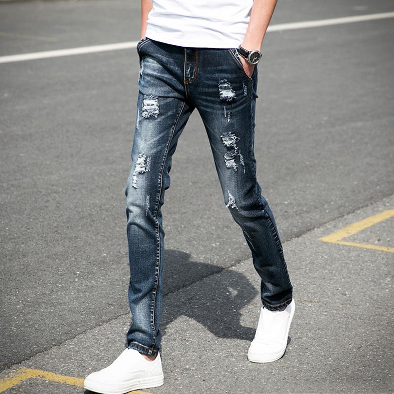 裤子黑色青年潮流牛仔裤青少年夏季破洞男士修身学生小脚