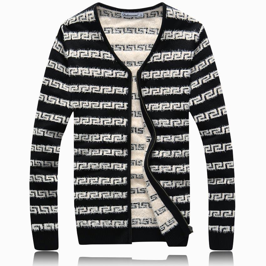 2014秋冬男士加厚针织衫V领开衫高档线衫男加厚毛衣潮男装外套