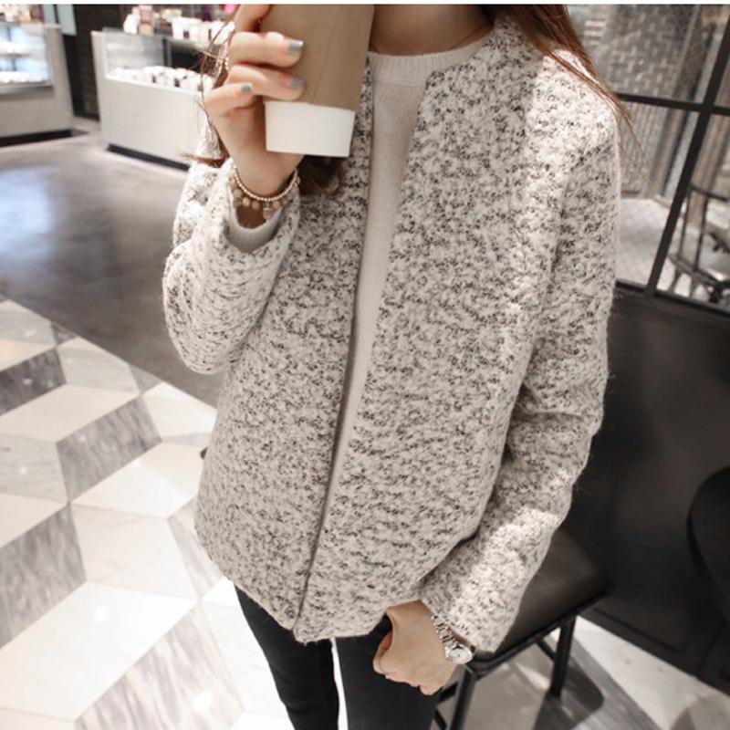 韩国sz2014秋冬新款女装毛呢外套 韩版修身圆领短款呢子大衣外套