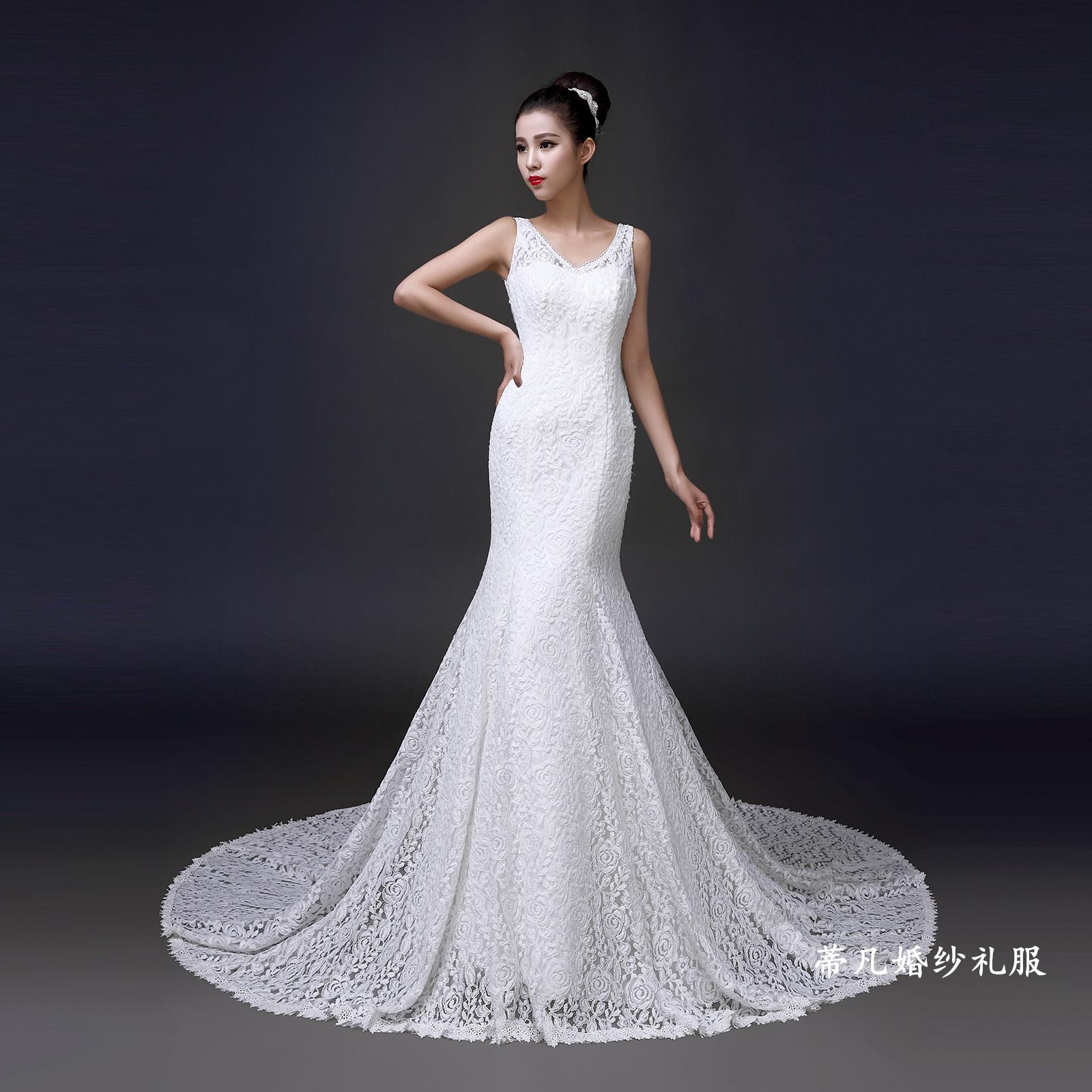 婚纱礼服新款2014秋冬季时尚V领拖尾鱼尾修身韩式新娘双肩型显瘦