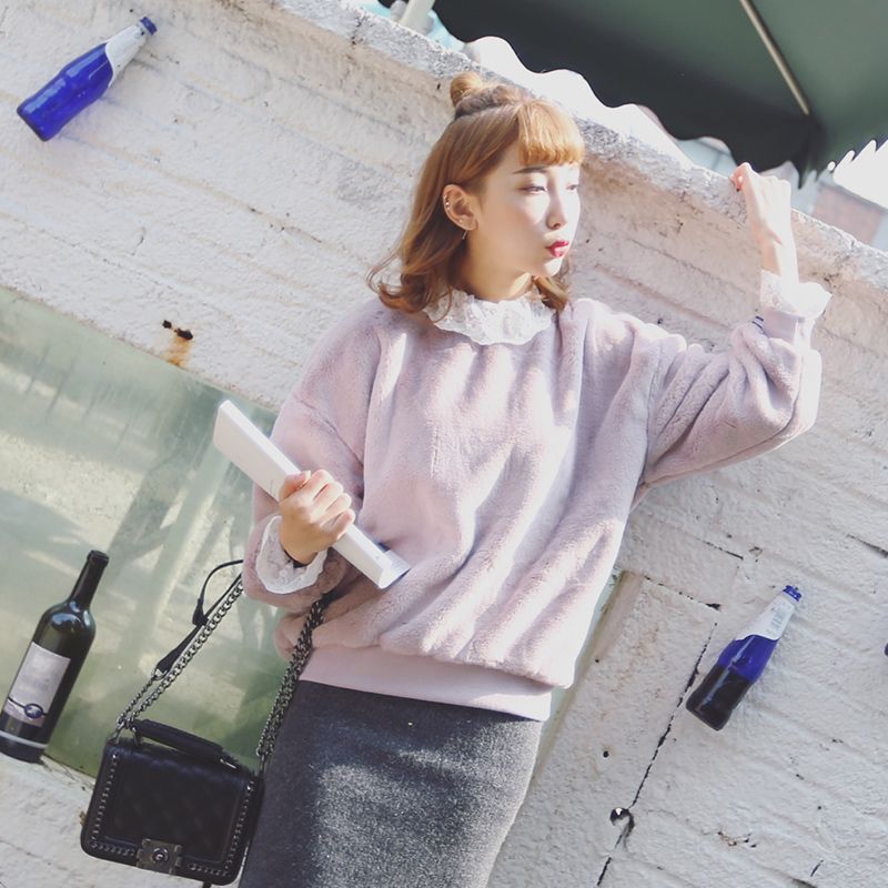 7781#冬季新款韩版女装蕾丝高领纯色羊羔毛毛衣外套卫衣女学生