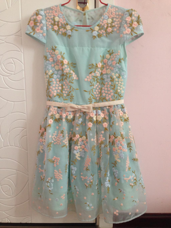 Five Plus 5+ 14夏专柜购买正品 浅蓝色绣花连衣裙 XS 2141082030
