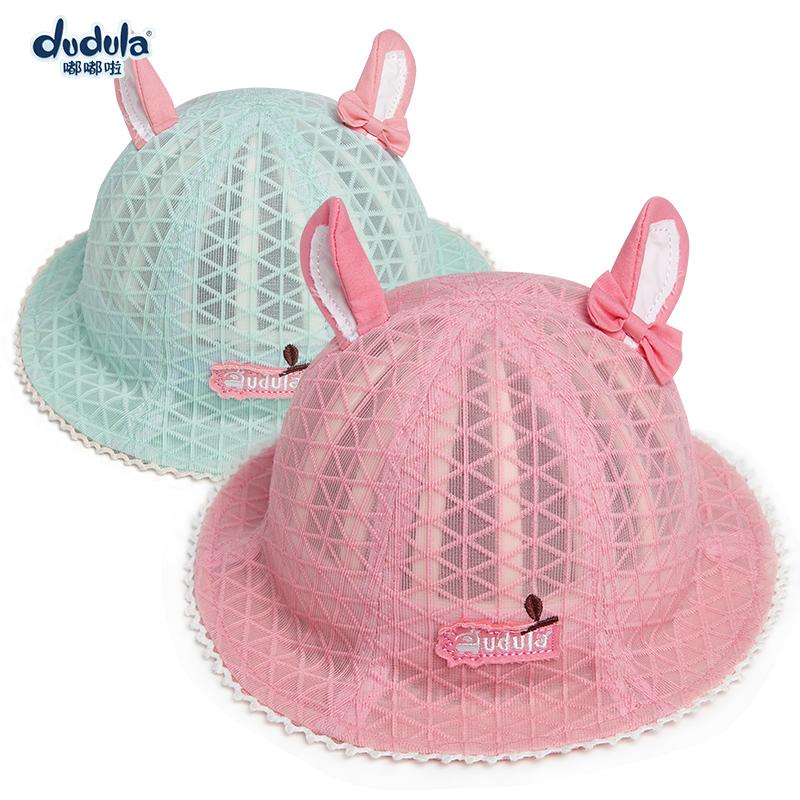 夏季宝宝渔夫女童遮阳帽薄款双耳婴儿太阳帽透气嘟嘟