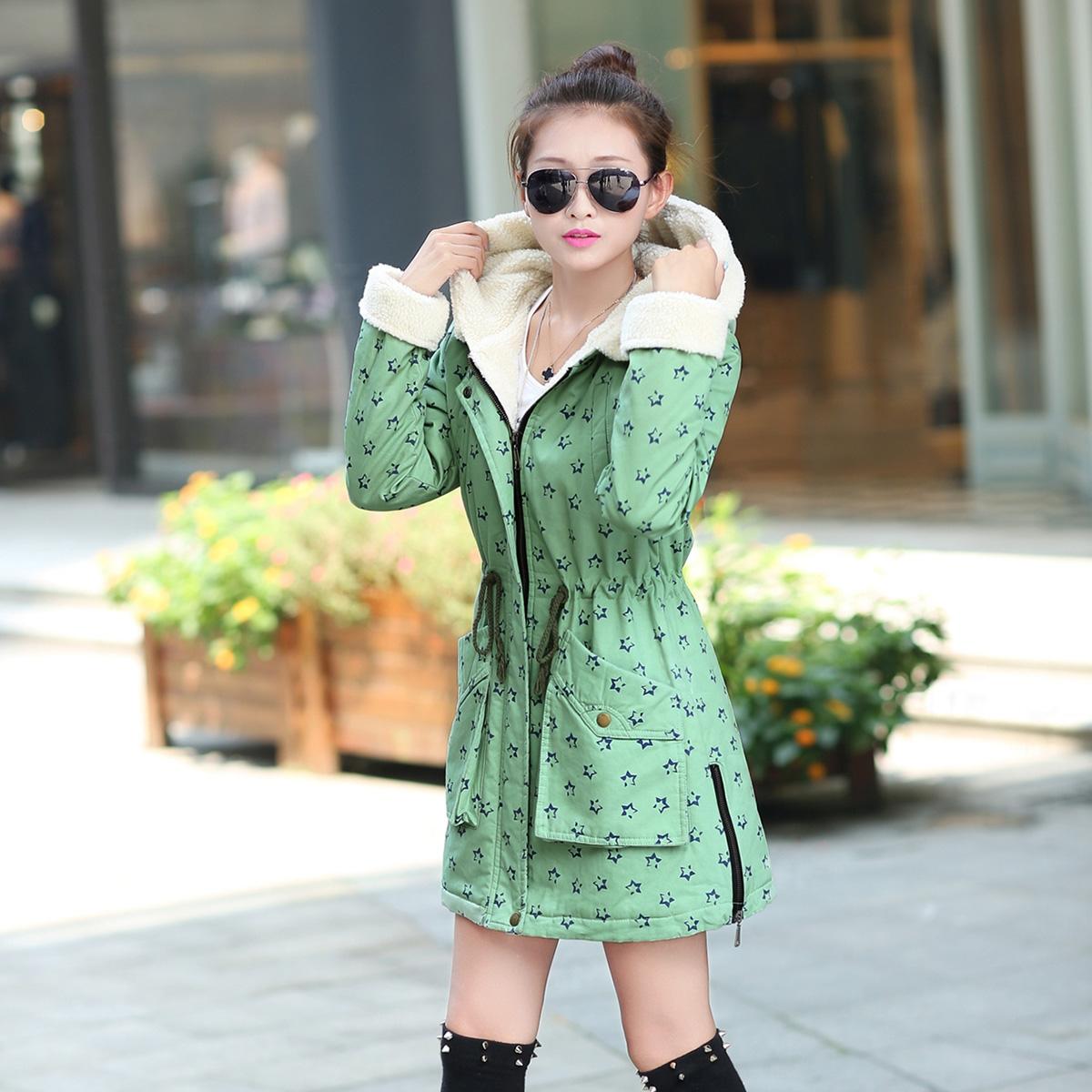 韩版学院风棉袄2014新款潮冬天外套棉衣大码女装加厚棉服女中长款