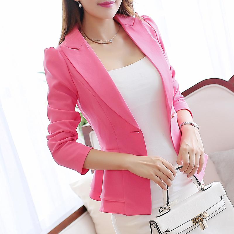 彩黛妃2017春夏新款长袖小西装女外套韩版修身荷叶边短款女装