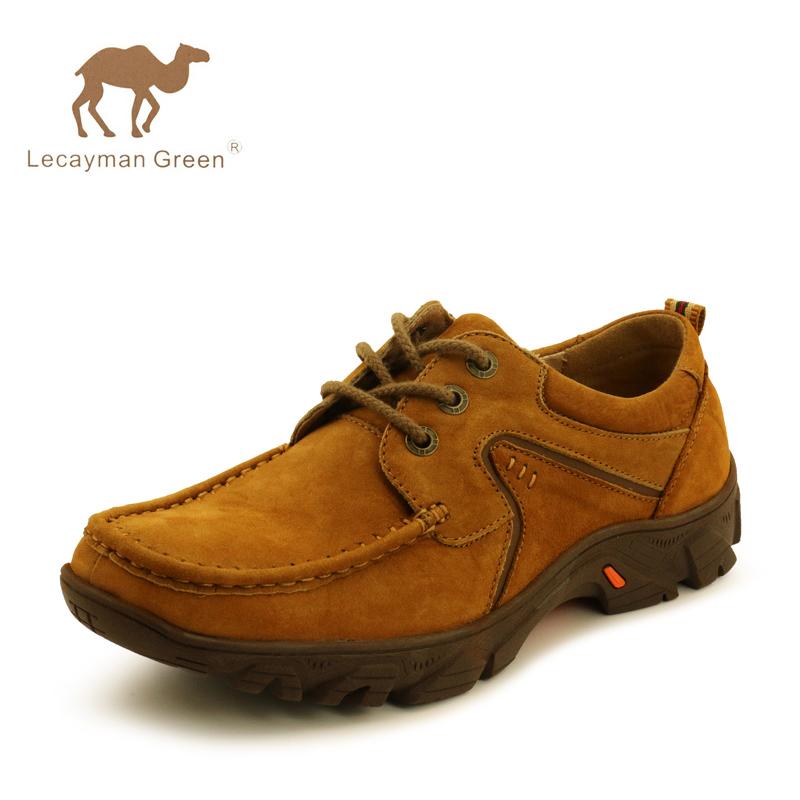 男士户外运动休闲鞋正品骆驼王英伦时尚真皮牛筋底磨砂登山鞋男鞋