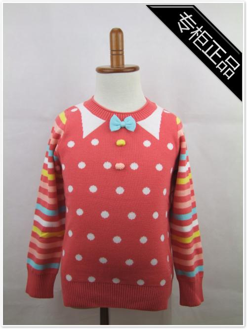 小猪班纳专柜正品 2014秋冬新款女童圆领长袖衫124341025