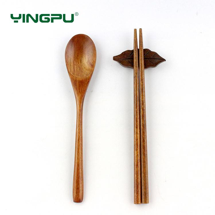 樱普 学生筷子勺子套装木环保餐具勺筷套装 旅行便携日系儿童筷子
