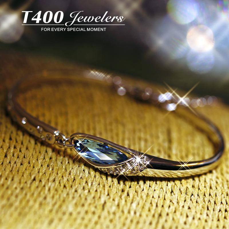 T400采用施华洛世奇元素水晶手链女日韩版手镯简约首饰品生日礼物