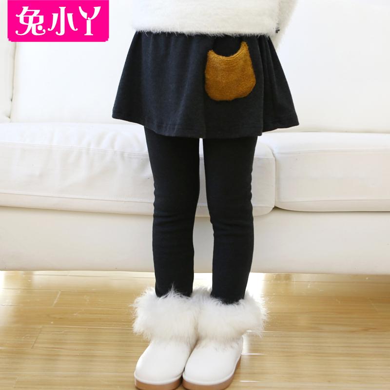 双层加厚加绒 女童儿童装冬装 韩版2014冬款打底裤假两件口袋裙裤