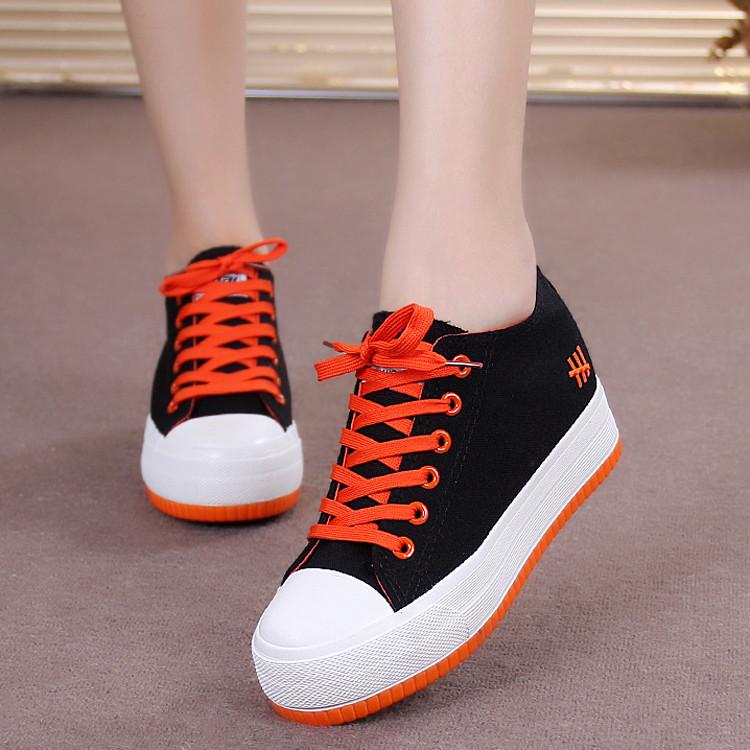 蓓尔女帆布鞋女学生隐形增高6cm松糕厚底单鞋女学生小码休闲板鞋