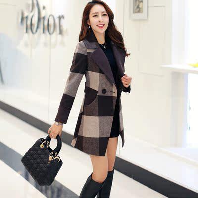 2015年新款修身显高V领格子昵子外套羊毛韩版冬季女装昵子大衣