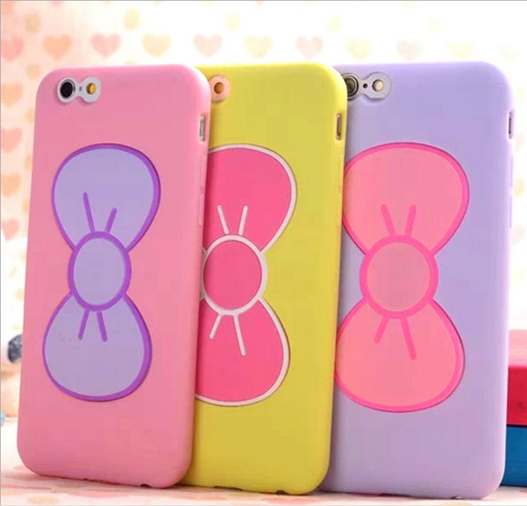 苹果6手机套 iphone6plus手机壳 支架卡套新款蝴蝶结硅胶套 5.5