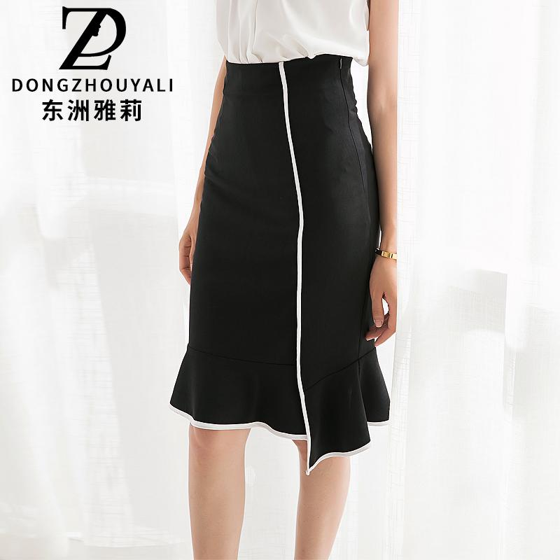 东洲雅莉夏季新 黑色修身弹力裙通勤荷叶边裙大码女装半身裙B5238