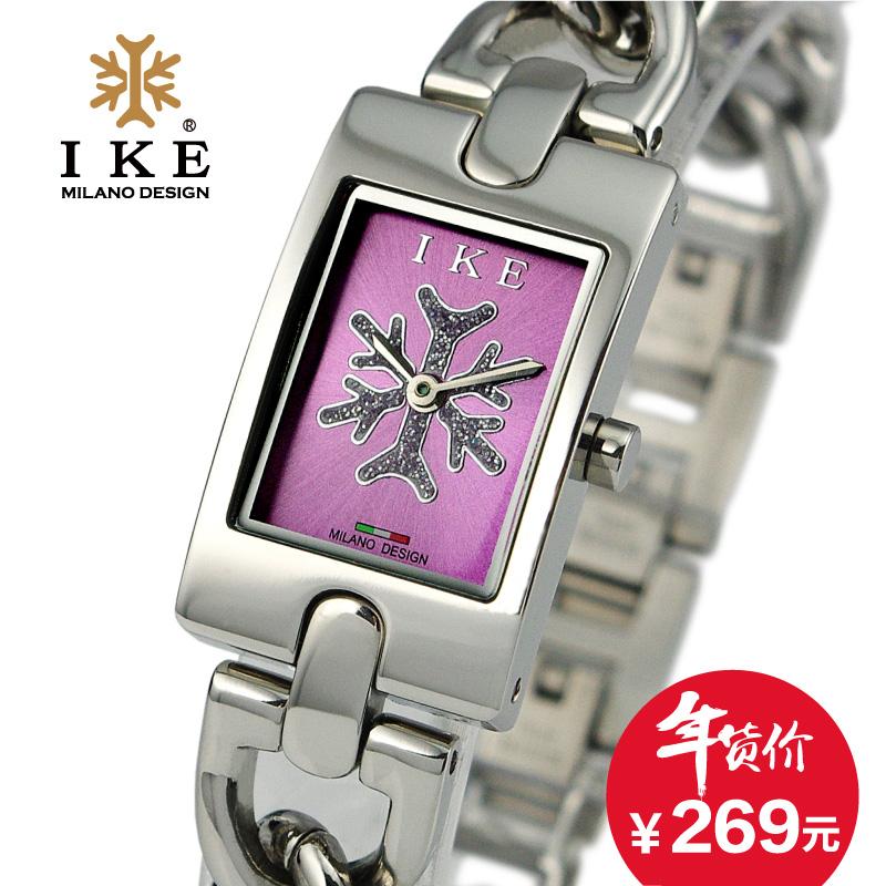 IKE正品牌简约手链方形时尚不锈钢带潮流女士手表防水女表石英表