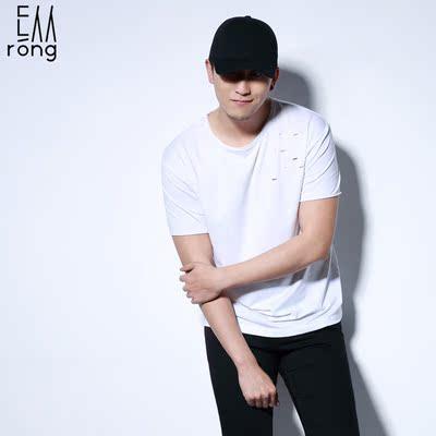 纵容夏日男士圆领短袖破洞T恤棉质吸汗白色镂空韩版打底衫汗衫潮